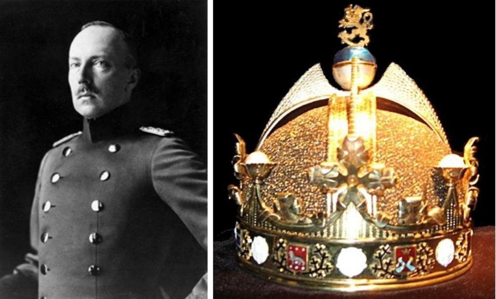 Geen koning maar een president. Friedrich-Karl von Hessen-Kassel, die besloot af te zien van de troon en de ongedragen koningskroon van Finland. (foto's: Wikimedia)