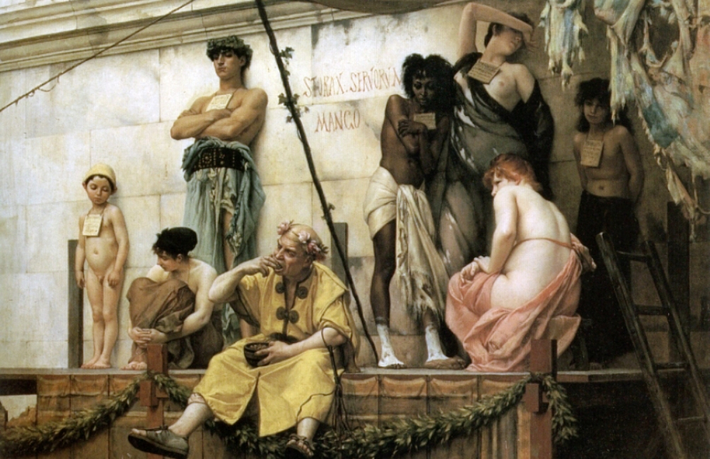 19e eeuwse impressie van een Romeinse slavenmarkt door Gustave Boulanger (Foto: Wikimedia)
