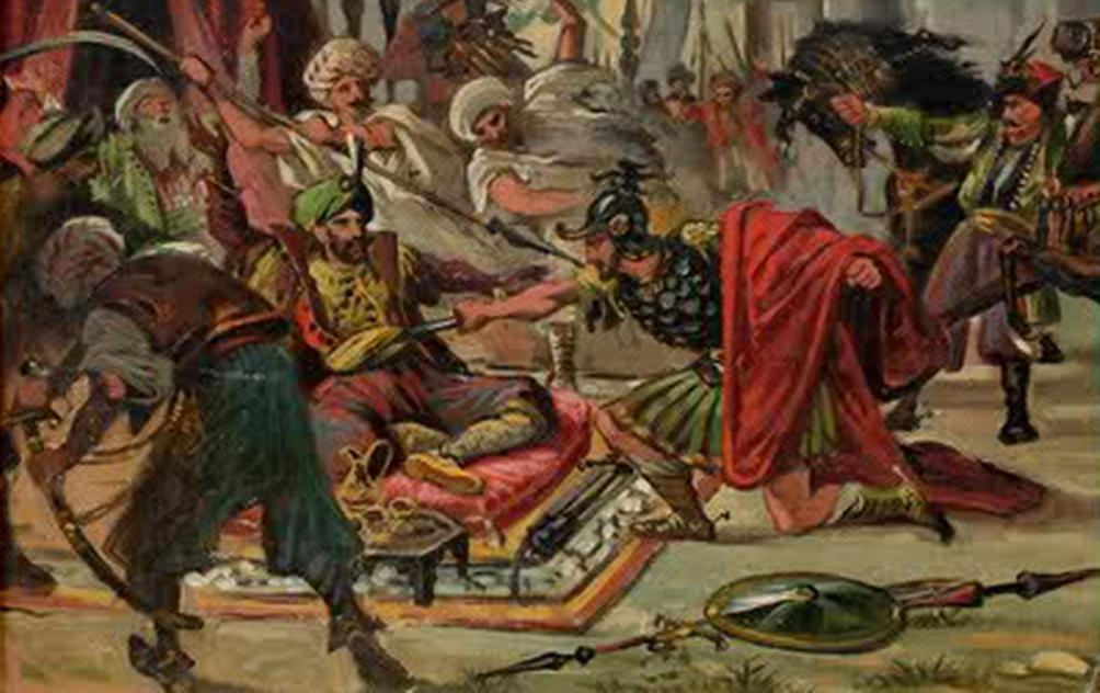 Sultan Murat I (die op de afbeelding wordt doorstoken door Kobilić) kwam om bij de slag op het Merelveld. (Foto: Wikimedia)