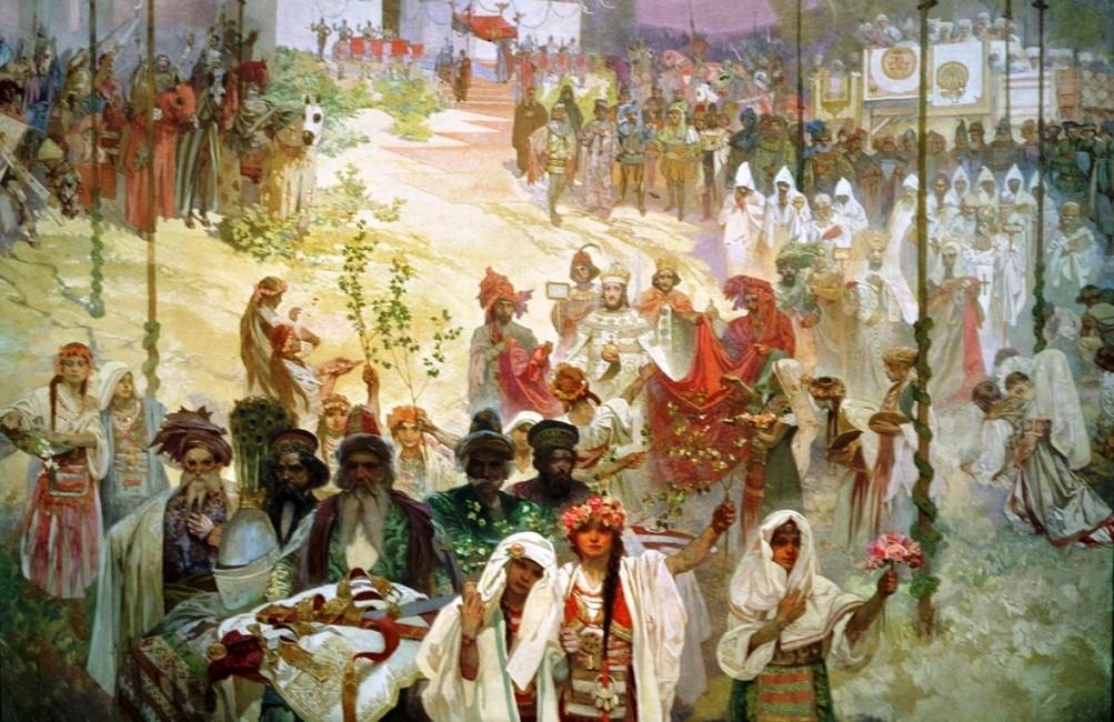 De kroning van Dusan, Tsaar van Serviers en Grieken. Zijn rijk besloeg een groot deel van de Balkan. (foto: Wikimedia)