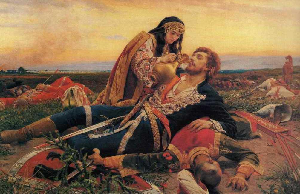 """Een afbeelding van de slag bij Černomen uit """"De maagd van Kosovo"""", een gedicht uit de Kosovo cyclus. Deze epische gedichten verhalen over de periode vlak voor, tijdens en vlak na de slag om Kosovo. (foto: Wikimedia)"""