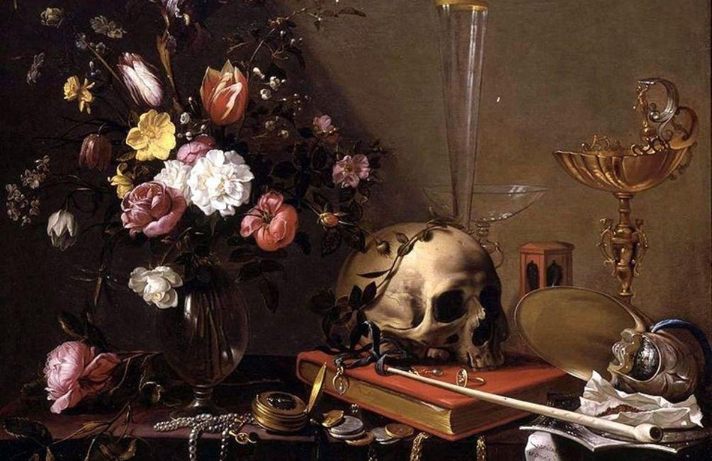 Foto: stilleven met bloemen en schedel (en pijp), Adriaen van Utrecht (1599-1652)