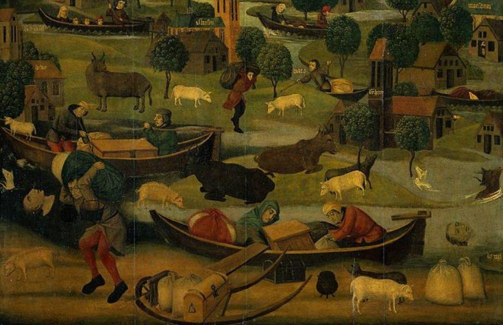 Foto: detail van een altaarstuk over de Sint Elisabethsvloed