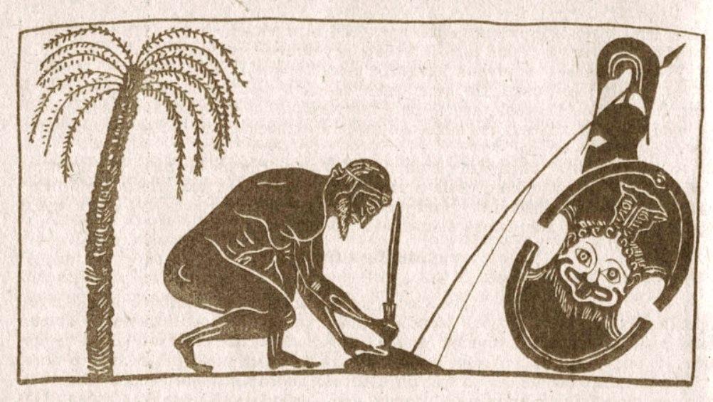 Ajax bereidt zijn zelfmoord voor op deze reproductie van een afbeelding op een Griekse vaas. (Foto: Wikimedia)