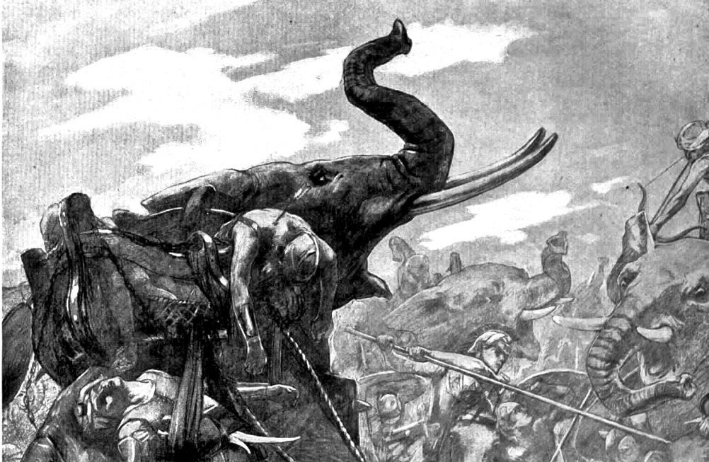Detail van een 19e eeuwse tekening van de Slag bij de Hydaspes (326 v. Chr.) die tussen de troepen van Alexander de Grote en de Indische koning Poros werd gevochten. (Foto: Wikimedia)
