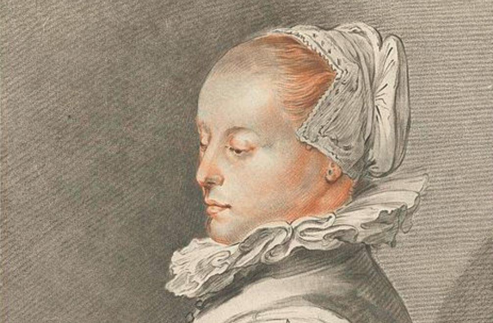 Foto: portret door Johannes Körnlein, gebaseerd op een portret door Hendrick Goltzius. Tot 1950 werd gedacht dat deze vrouw Maria Tesselschade Visscher was.