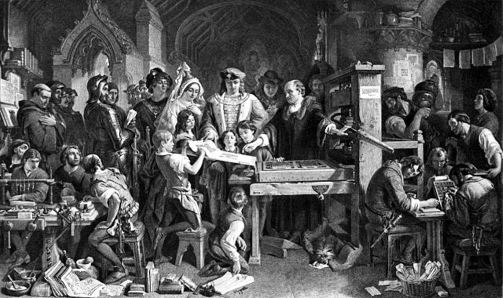 Foto: drukker William Caxton demonstreert zijn drukpers aan koning Edward IV