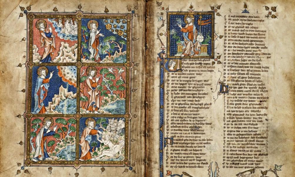 Foto: pagina uit een door Michiel van der Borch geïllumineerd exemplaar van de Rijmbijbel (1332)