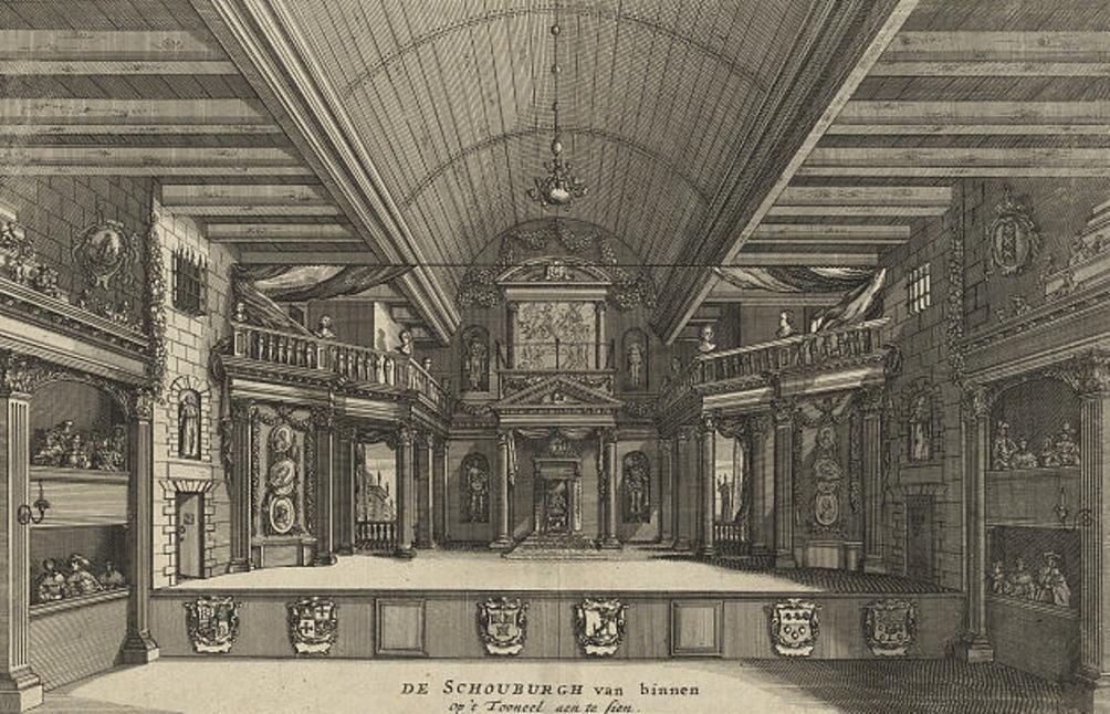 Foto: het door Jacob van Campen ontworpen podium van de schouwburg