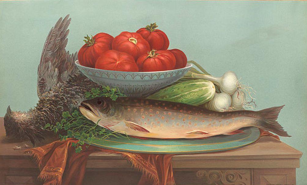 Foto: Forel, hoen, tomaten, door Robert D. Wilkie
