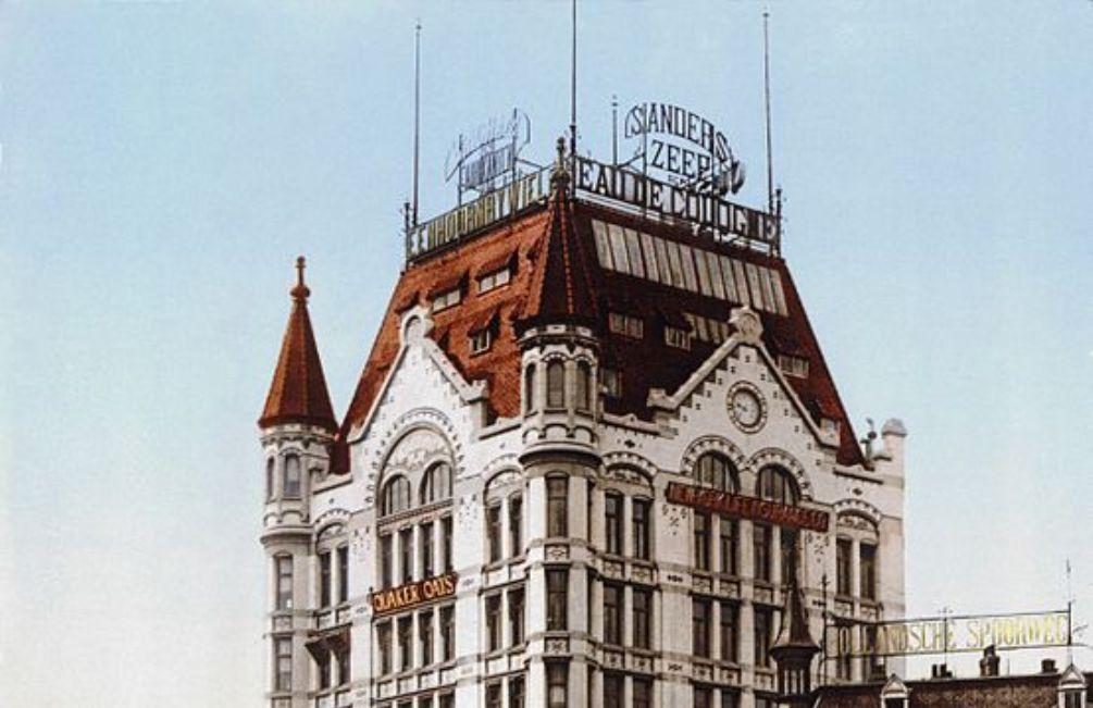 Foto: het Witte Huis in Rotterdam, de eerste wolkenkrabber van Nederland, foto uit ca. 1900