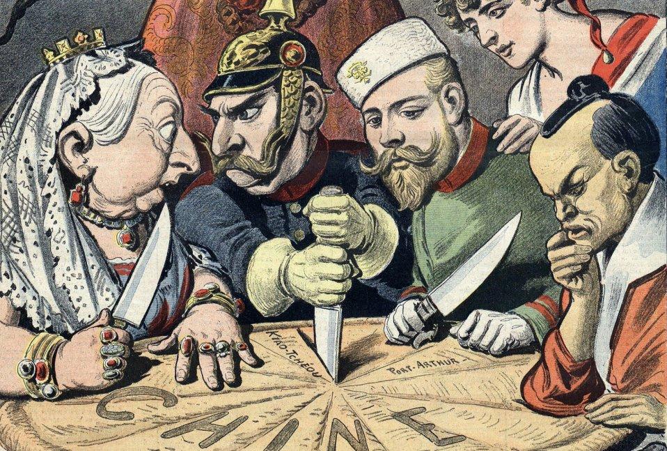 Detail uit een cartoon waarin Engeland, Frankrijk, Japan, Rusland en Duitsland China verdelen (foto: Wikimedia).