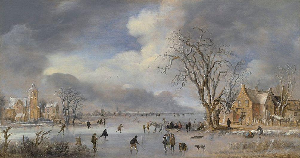 Foto: Aert van der Neer, Winterlandschap met schaatsers en kolfspelers (ca. 1642)