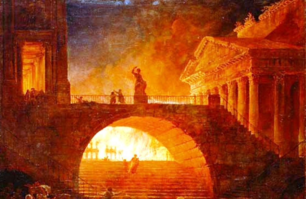 De brand van Rome verbeeld, door kunstenaar Hubert Robert (1733–1808). (foto: Wikimedia)