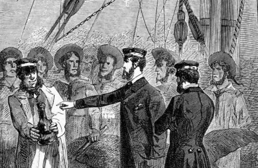Foto: Jules Vernes De kinderen van kapitein Grant begint met de vondst van flessenpost waaruit blijkt dat Grant schipbreuk heeft geleden. Illustratie door Édouard Riou.