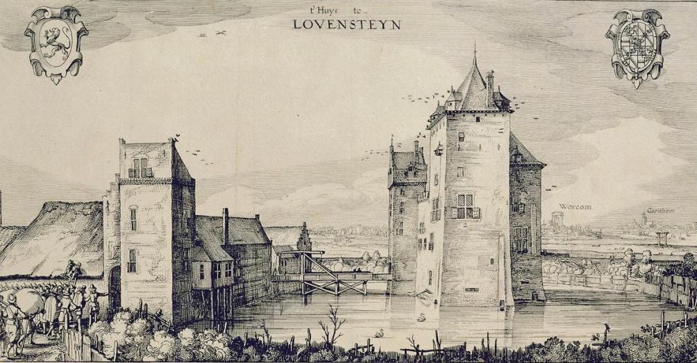 Ets van slot Loevestein anno 1619 van Claes Jansz. Visscher.