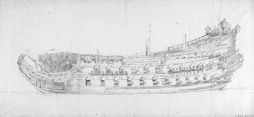 Het vlaggenschip Zeven Provinciën van Michiel de Ruyter. Bron: Wikimedia.