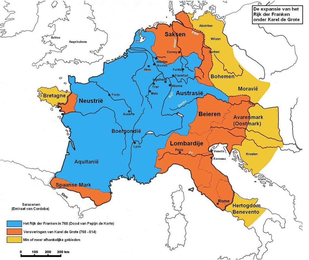 De expansie van het rijk der Franken onder Karel de Grote