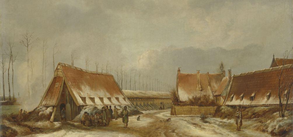 De kazematten voor Naarden in 1814. Lange schuren bij een schans, links zitten enkele soldaten rond een tafel.