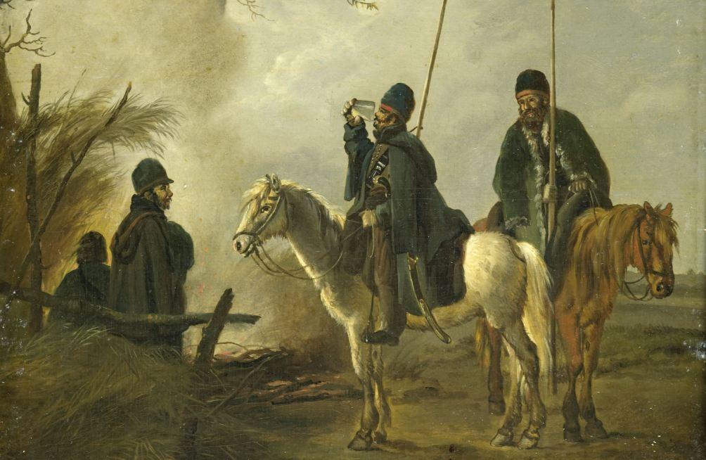 Kozakkenvoorpost in 1813. Vier kozakken rond een kampvuur, twee met lansen te paard, één drinkt een glas leeg.