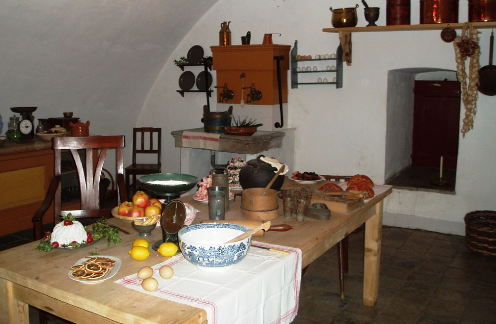 De ingerichte keuken van kasteel Doorwerth. (foto: Kasteel Doorwerth / Stichting Geldersch Landschap & Kasteelen)