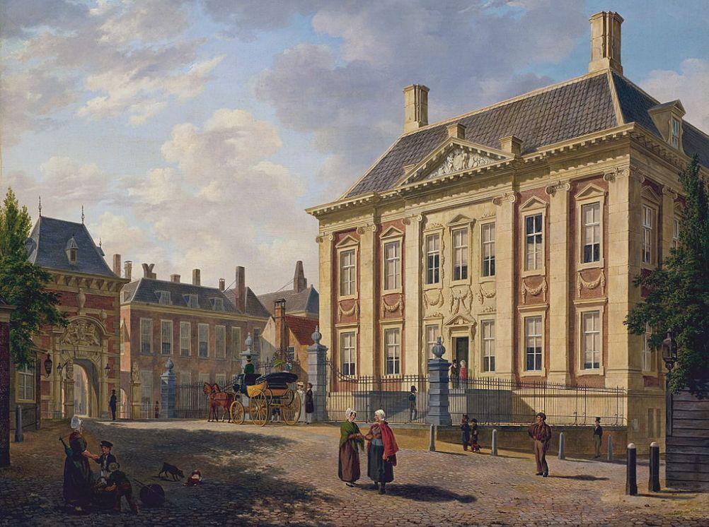 Het Mauritshuis in 1825, geschilderd door Bartholomeus Johannes van Hove. (foto: Wikimedia)