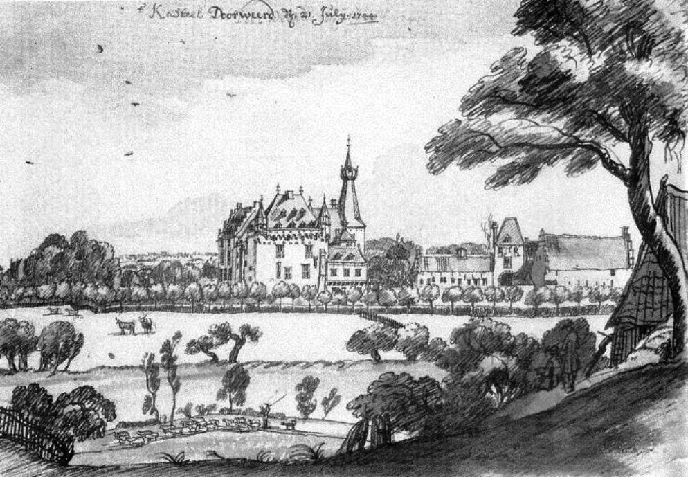 Tekening van kasteel Doorwerth in de 18e eeuw door Jan de Beier. (foto: Wikimedia)