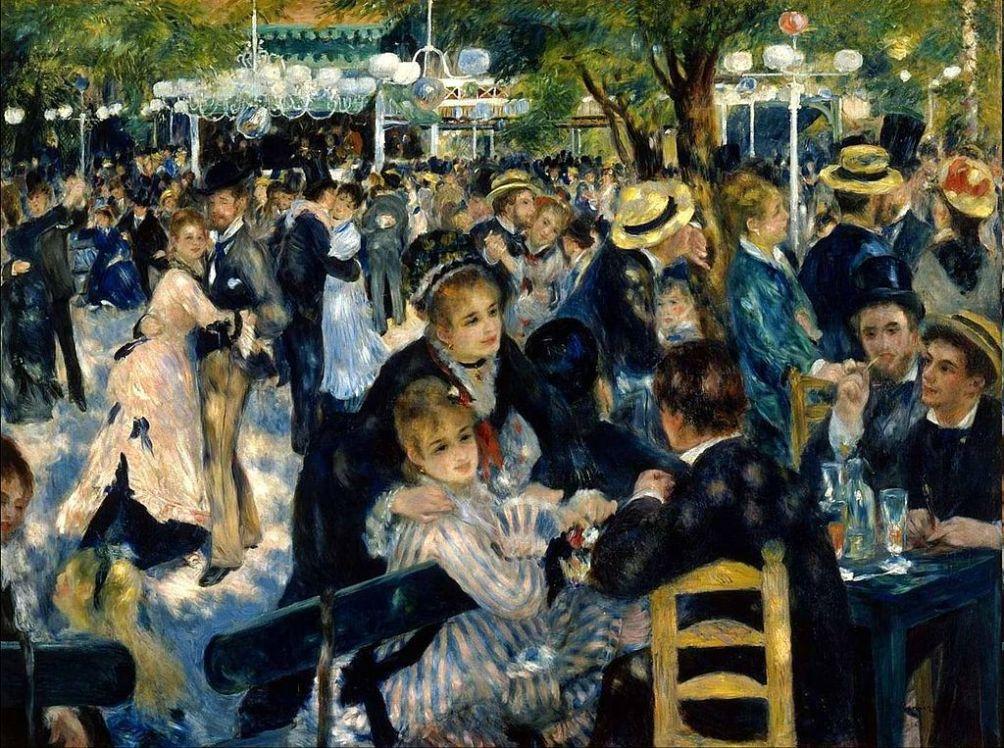 Bal du Moulin de la Galette van  Pierre-Auguste Renoir uit 1876. Het schilderij toont een bal in de dansgelegenheid 'Moulin de la Galette' in Montmartre.