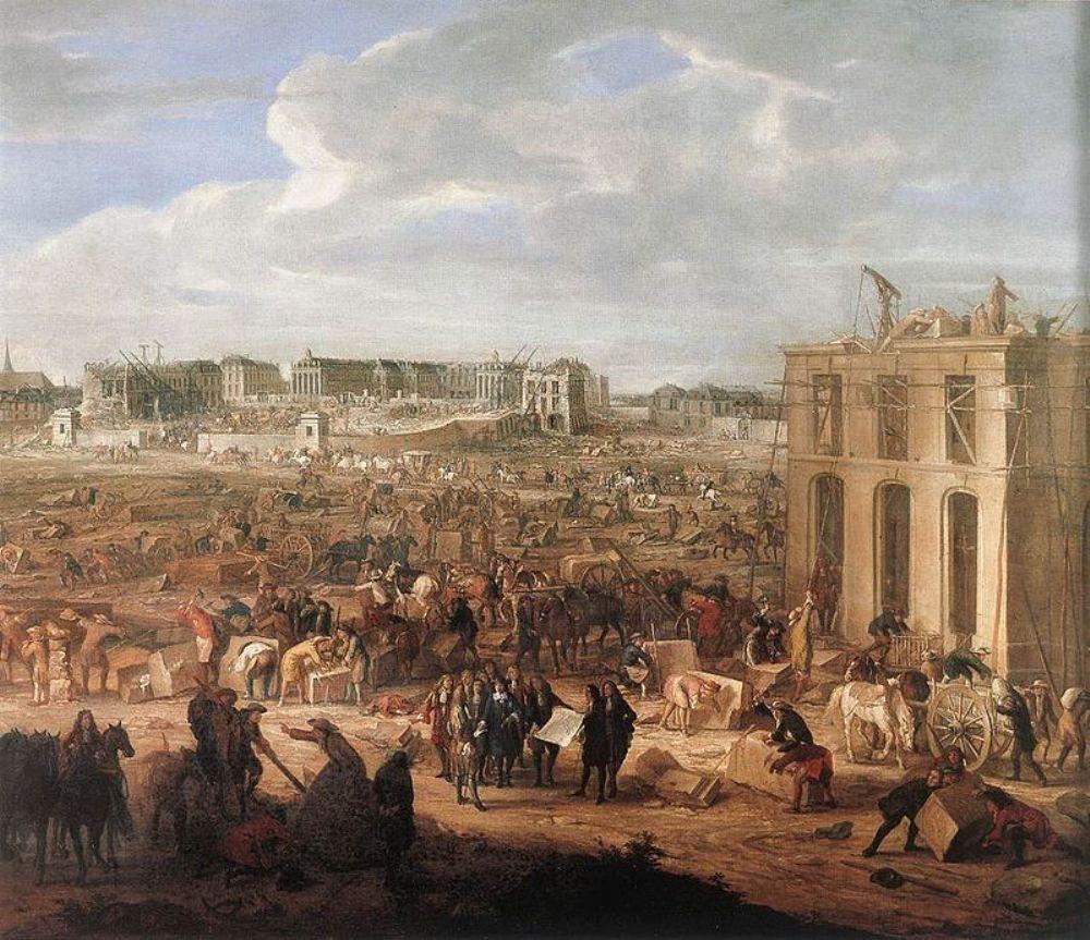14.9.13 de bouw van Versailles.schilderij bouw