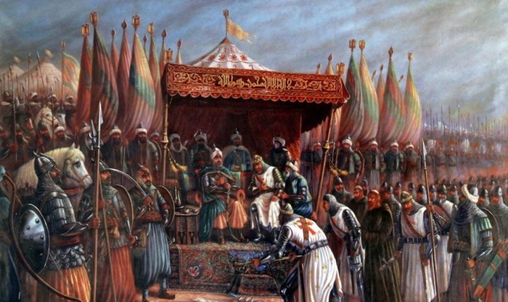 Koning Guy de Lusignan geeft zich over na de Slag bij Hattin in 1187.
